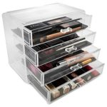Sorbus Acrylic Cosmetics Makeup and Jewelry Storage Case Display- 4 Large Drawers Space- Saving, Stylish Acrylic Bathroom Case Great for Lipstick, Nail Polish, Brushes, Jewelry and More