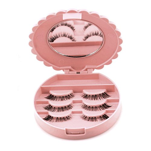 DDLBiz Cute False Eyelash Storage Box Makeup Cosmetic Mirror Case Organizer