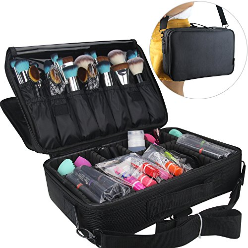 MLMSY Makeup Train Case 3 Layers Cosmetic Organizer Beauty Artist Storage Brush Holder Makeup Artist Art Organizer with Shoulder Strap, 14″ *9″*5″ Black