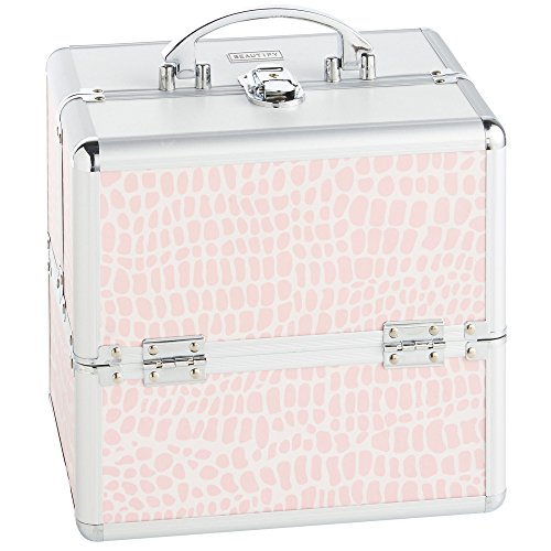 Beautify Cosmetic Organizer Case – 10″ Professional Aluminum Makeup Storage Box (Pink Crocodile Print Beauty Train Case with Lock)