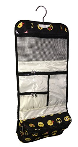 Large Hanging Toiletry Cosmetic Organizer Bag – Roll up for Storage and Travel (Black Emoji)
