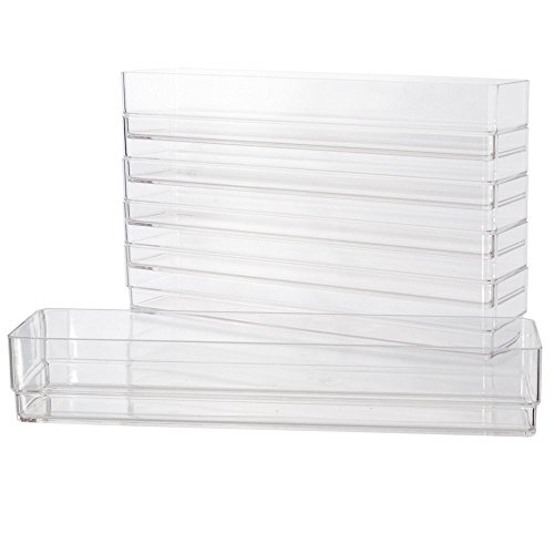 Clear Plastic Drawer Organizers 12″ x 3″ x 2″ l Set of 6