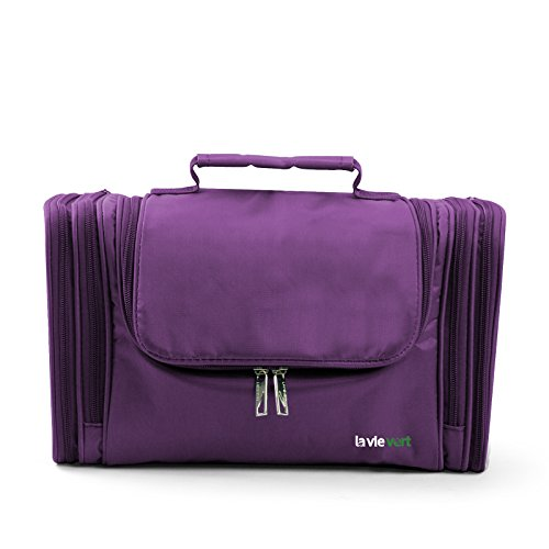 Lavievert Toiletry Bag / Makeup Organizer / Cosmetic Bag / Portable Travel Kit Organizer / Household Storage Pack / Bathroom Storage with Hanging for Business, Vacation, Household – Purple