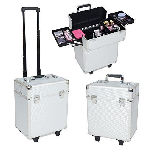 Greenmall Professional Multifunction Artist Makeup Beauty Train Case Cosmetic Organizer (large, silver)