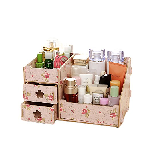 "Modern Wooden Comestic Storage Box Desktop Make Up Jewelry Organizer Case Holder (9.9""6.3""5.3"", Camellia)"
