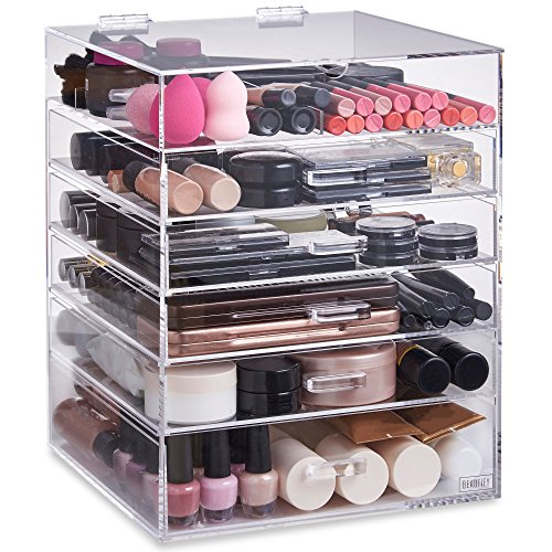 Beautify Extra Large 6 Tier Clear Acrylic Cosmetic Makeup Storage Cube Organizer with 5 Drawers, Upper Compartment and Removable Divider – 15 x 12 x 12 inches