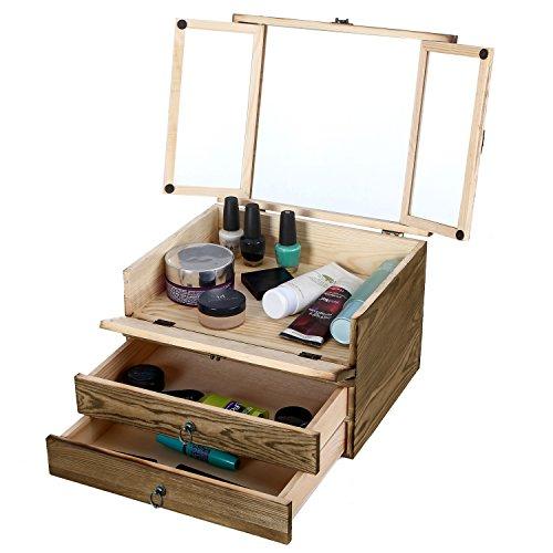 Brown Wood Jewelry Storage Cosmetics Organizer Box w/ 2 Drawers & 1 Lift-Top Compartment w/ Mirror