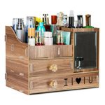 VolksRose DIY Creative Multifunctional Wooden Cosmetics Desk Tidy Organizer Storage Box Makeup Brush Holder Desktop Drawer Space Saving Box #3
