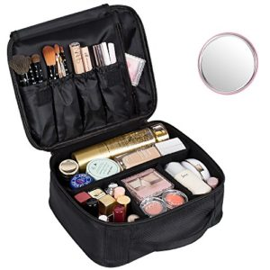 e04673abf23 DreamGenius Portable Travel Makeup Bag Makeup Case Organizer with Large  Capacity and Adjustable Dividers  Waterproof